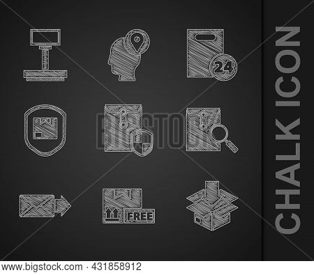 Set Envelope With Shield, Cardboard Box Free Symbol, Traffic, Magnifying Glass, Delivery Pack Securi