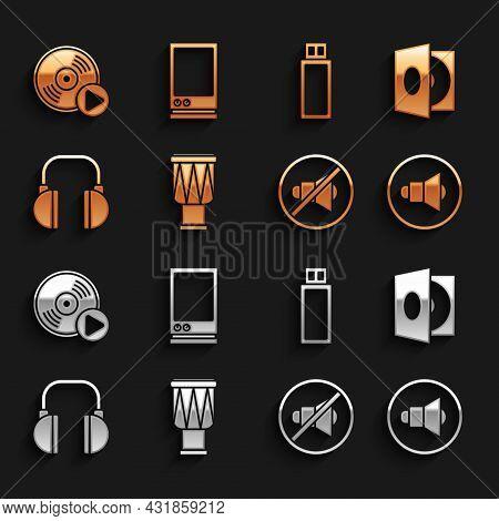 Set Drum, Vinyl Player With A Vinyl Disk, Speaker Volume, Mute, Headphones, Usb Flash Drive, And Voi
