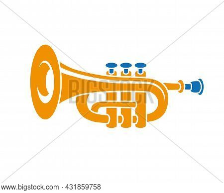 Brass Trumpet Simple Flat Vector Icon Isolated.