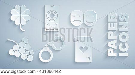 Set Handcuffs, Poker Player, Casino Slot Machine With Grape, Playing Card Heart, Poker Tournament In