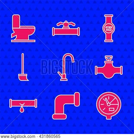 Set Water Tap, Industry Metallic Pipe, Meter, And Valve, Broken With Leaking Water, Mop, And Toilet