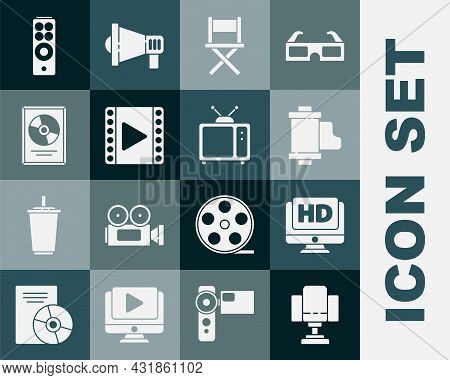 Set Director Movie Chair, Monitor With Hd Video, Camera Vintage Film Roll Cartridge, Play Video, Cd