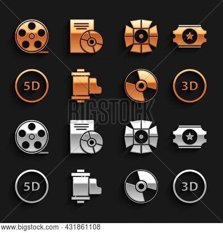 Set Camera Vintage Film Roll Cartridge, Cinema Ticket, 3d Word, Cd Dvd Disk, 5d Virtual Reality, Mov