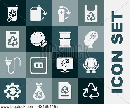 Set Recycle Symbol, Hands Holding Earth Globe, Human Head With Leaf Inside, Recycling Plastic Bottle