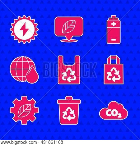 Set Plastic Bag With Recycle, Recycle Bin, Co2 Emissions Cloud, Paper, Leaf Plant Gear Machine, Eart