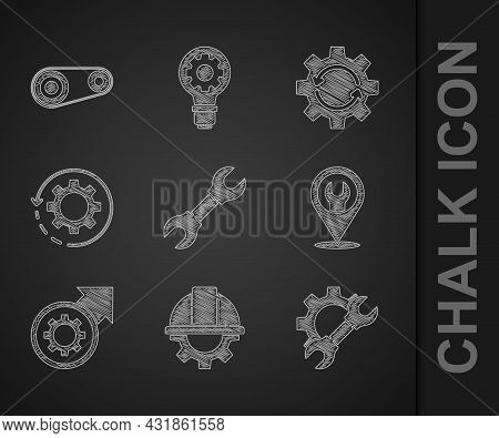 Set Wrench Spanner, Worker Safety Helmet And Gear, Location With Wrench, Gear Arrows As Workflow Pro