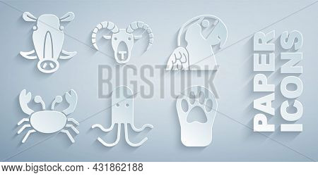 Set Octopus, Macaw Parrot, Crab, Paw Print, Head Of Goat Or Ram And Wild Boar Head Icon. Vector