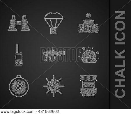 Set Cannon, Naval Mine, Hiking Backpack, Bomb Explosion, Compass, Walkie Talkie, Stop War And Binocu