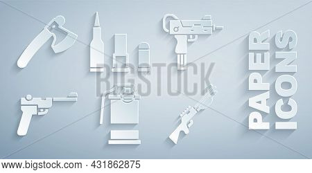 Set Hand Smoke Grenade, Uzi Submachine Gun, Mauser, Hunting, Bullet And Wooden Axe Icon. Vector