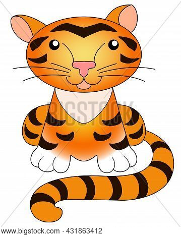 Tiger - A Picture For A Children's Book. Little Cute Tiger Cub Sits - Vector Full Color Illustration