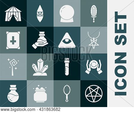 Set Pentagram In A Circle, Magic Ball On Hand, Necklace, Bottle With Potion, Ancient Magic Book, Cir