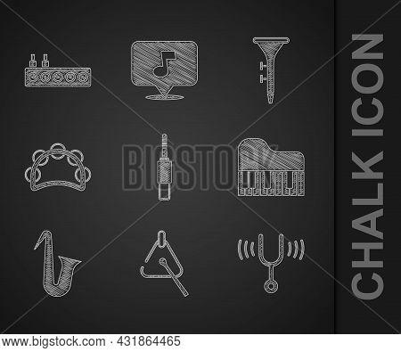 Set Audio Jack, Triangle, Musical Tuning Fork, Grand Piano, Instrument Saxophone, Tambourine, Drum D