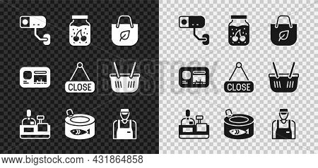 Set Security Camera, Jam Jar, Shopping Bag With Recycle, Cashier At Cash Register, Canned Fish, Sell