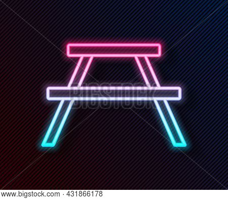 Glowing Neon Line Picnic Table With Benches On Either Side Of The Table Icon Isolated On Black Backg