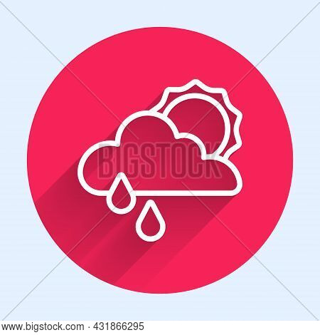 White Line Cloud With Rain And Sun Icon Isolated With Long Shadow. Rain Cloud Precipitation With Rai