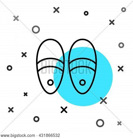 Black Line Slippers Icon Isolated On White Background. Flip Flops Sign. Random Dynamic Shapes. Vecto