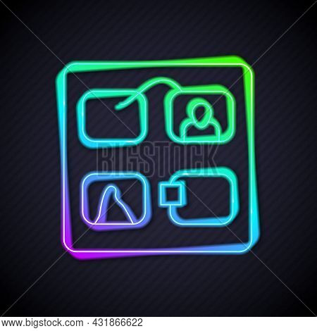 Glowing Neon Line Storyboard Film Video Template For Movie Creation Icon Isolated On Black Backgroun