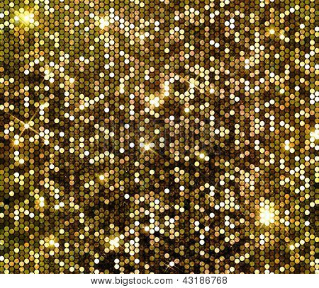 Gold sparkle glitter background. Glittering sequins wall. poster