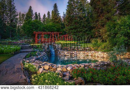 Cascade Of Time Garden In The Summer