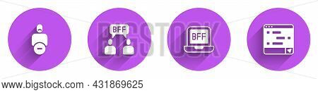 Set Loss Of Friend, Bff Or Best Friends Forever, And Chat Messages On Laptop Icon With Long Shadow.