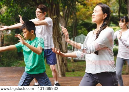 Asian parents, son and daughter exercising outdoors, practicing tai chi. family fitness time in garden.