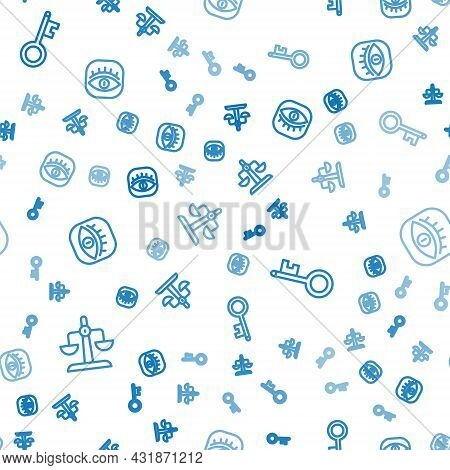 Set Line Libra Zodiac, Old Key And Masons On Seamless Pattern. Vector