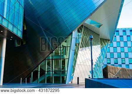Dublin, Ireland - August 9 2017; Architectural Angles Of Grand Canal Theater A Modern Urban Developm