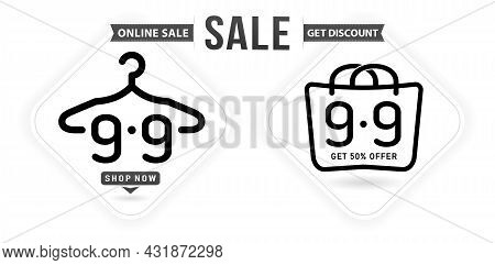 Hanger And Tag 9.9 Sale, 9.9 Online Sale, Hand Bag Model Monochrome With Isolated White Backgrounds