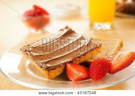 Toast With Chocolate Cream