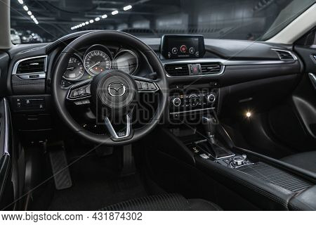 Novosibirsk, Russia - August 20, 2021:  Mazda 6, Steering Wheel, Shift Lever, Multimedia  Systeme, D