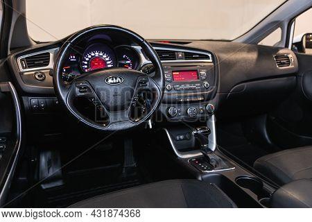 Novosibirsk, Russia - August 20, 2021:  Kia Ceed, Steering Wheel, Shift Lever, Multimedia  Systeme,