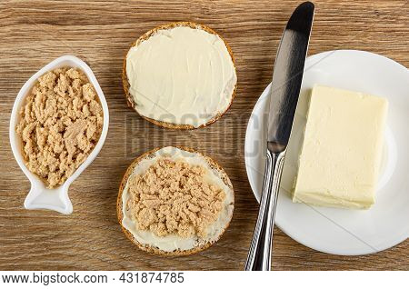 Canned Sterilized Cod Caviar In White Bowl In Fish Shape, Sandwich With Butter, Sandwich With Cod Ca