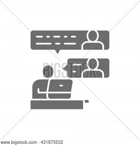 Vector Communication Between Team Members Grey Icon.