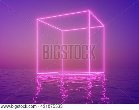Neon cube in fog above water, night scene, 3D illustration, rendering.