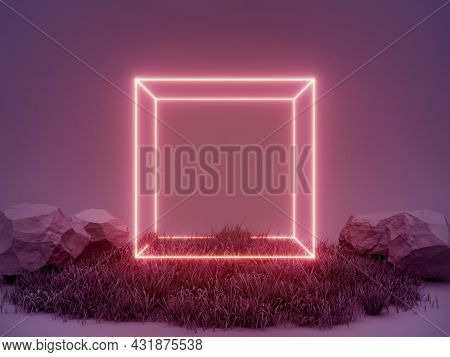 Abstract scene product presentation neon cube surrounded by grass and stones, 3D illustration, rendering.