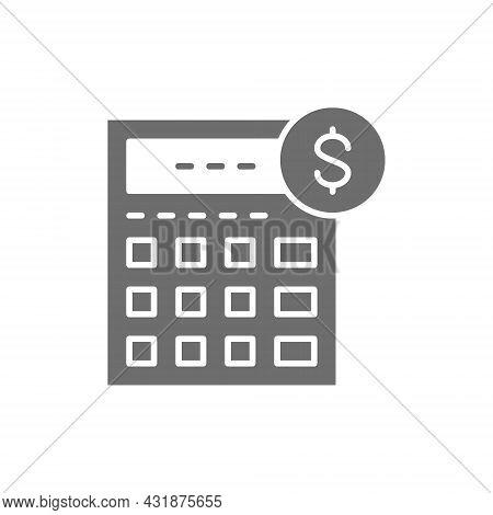 Calculator, Bookkeeping, Accounting, Finances, Economy Grey Icon.