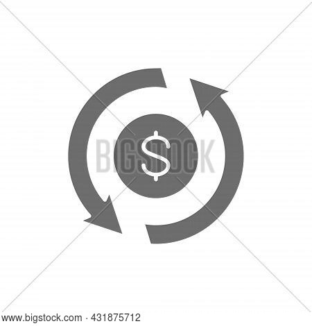 Currency Exchange, Money Transfer, Convert, Quick Loan, Refund Grey Icon.