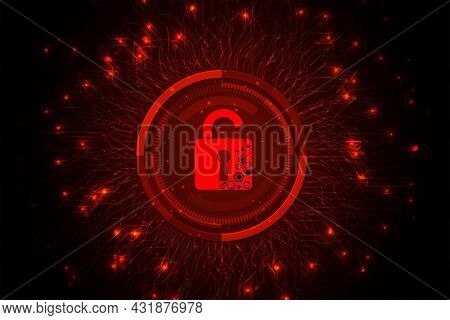 Concept Of Destroyed Cyber Security Design.padlock Red Open On  Dark Red Background.cyber Attack And