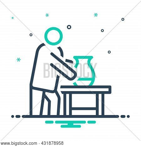 Mix Icon For Working Put Table House-work On-the-job Person Casual Engaged