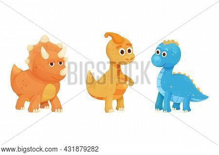 Set Dinosaur, Baby Animal Fantasy Fossil Animal In Cartoon Style Isolated On White Background. Cute