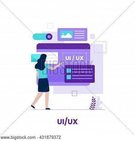 Flat Design Of Ui Ux Design Concept