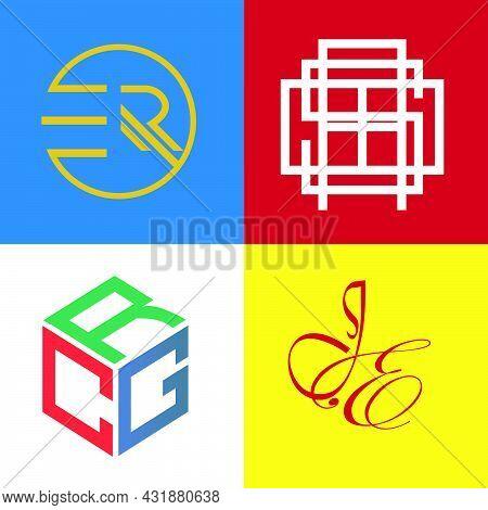 Set Bundle Monogram Minimalist Logo Er, Asb, Crg Dan Js