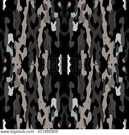 Ikat, Tie Dye. Batik, Hand Drawn Ornament. Geo Surface. Endless Repeat Painting. Black Gray Ancient