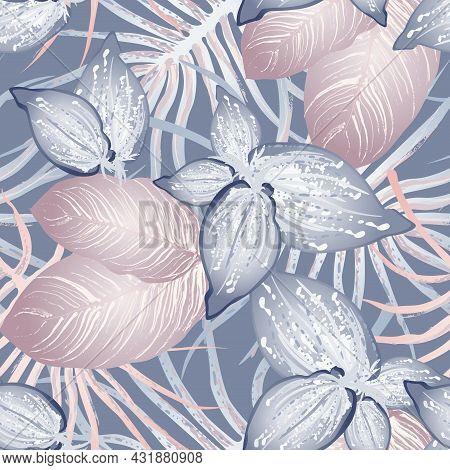 Tropical Leaf Modern Motif. Jungle Print. Foliage Summer Seamless Pattern. Trending Greenery Vector