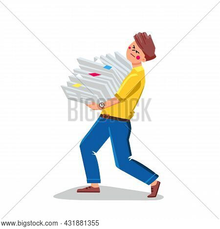 Bureaucracy Paperwork Of Busy Businessman Vector. Business Man Carrying Pile Of Documentation Paper