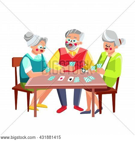 Older People Playing Cards Game Together Vector. Man And Women Friends Pensioners Sitting At Table A