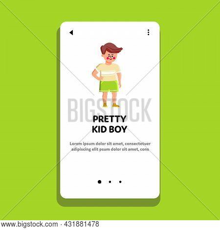 Pretty Kid Boy In Stylish Fashion Clothes Vector. Pretty Kid Boy Wearing Fashionable Clothing T-shir