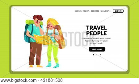 Travel People Enjoying Journey Together Vector. Travel People Man And Woman Couple With Backpack Res