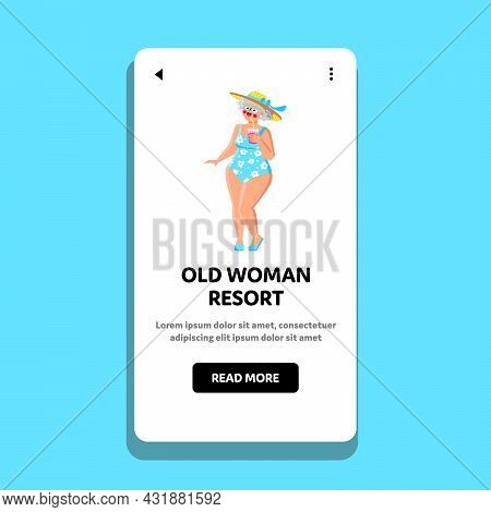 Old Woman Resort Vacation On Sea Beach Vector. Old Woman Resort And Enjoying Tropical Delicious Cock
