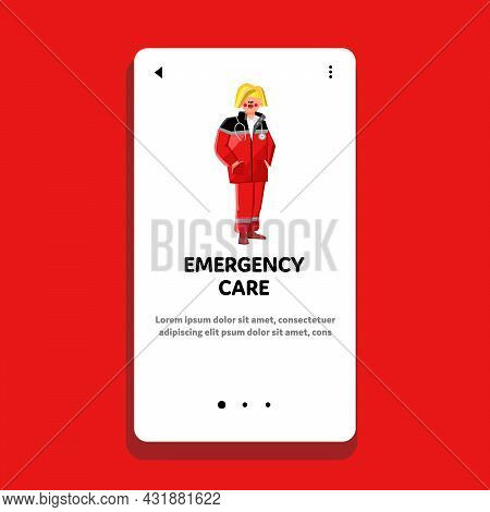 Emergency Care And Medic Urgent First Aid Vector. Paramedic Emergency Care Medical Professional Heal